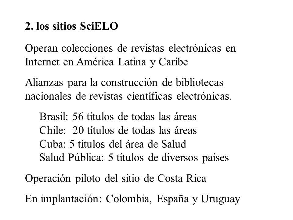 2. los sitios SciELO Operan colecciones de revistas electrónicas en Internet en América Latina y Caribe.