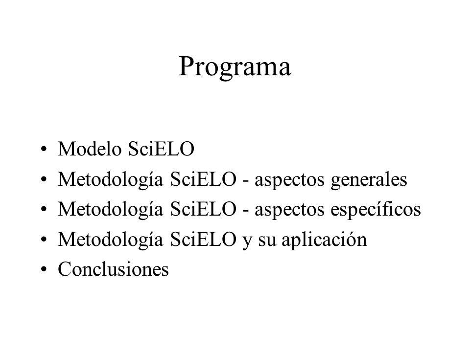 Programa Modelo SciELO Metodología SciELO - aspectos generales
