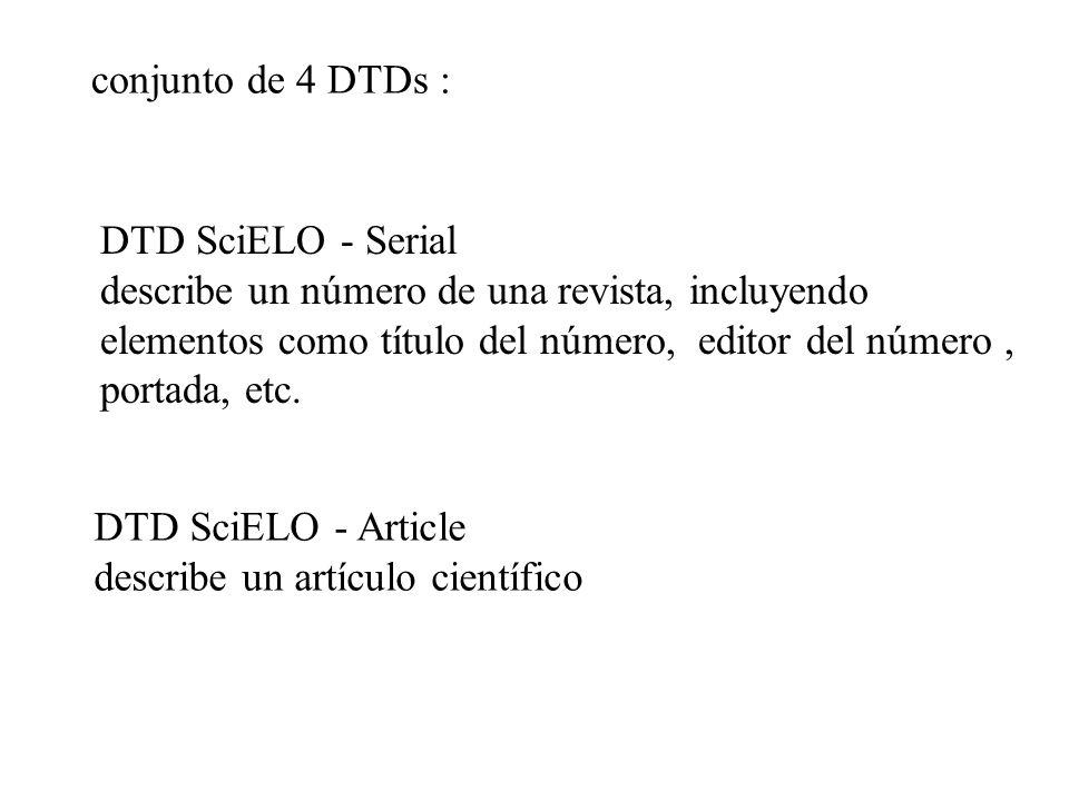 conjunto de 4 DTDs : DTD SciELO - Serial.