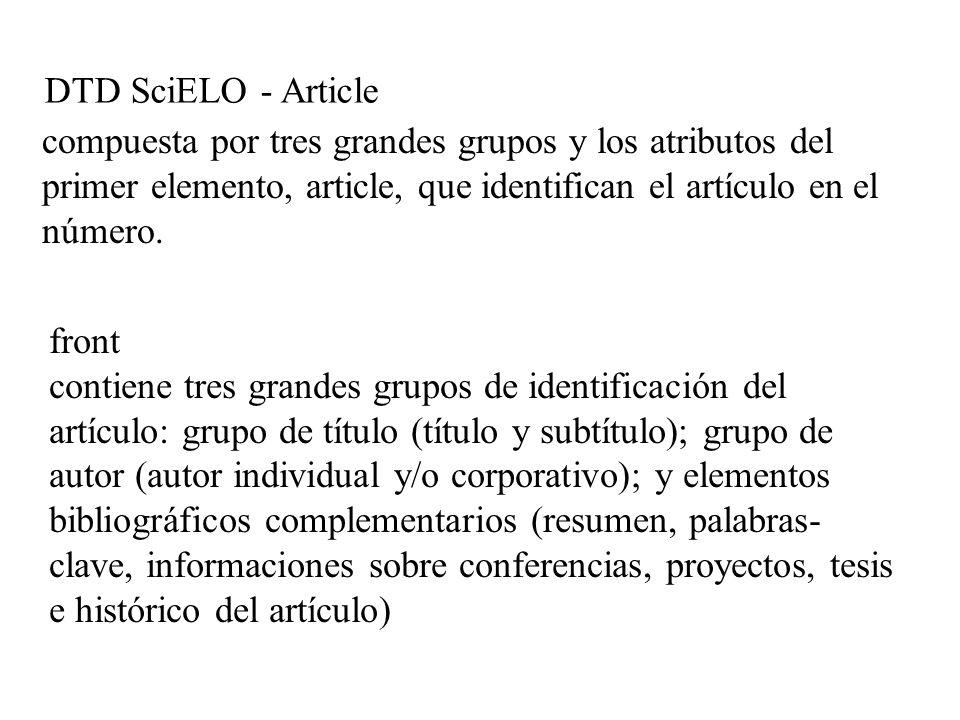 DTD SciELO - Article compuesta por tres grandes grupos y los atributos del primer elemento, article, que identifican el artículo en el número.