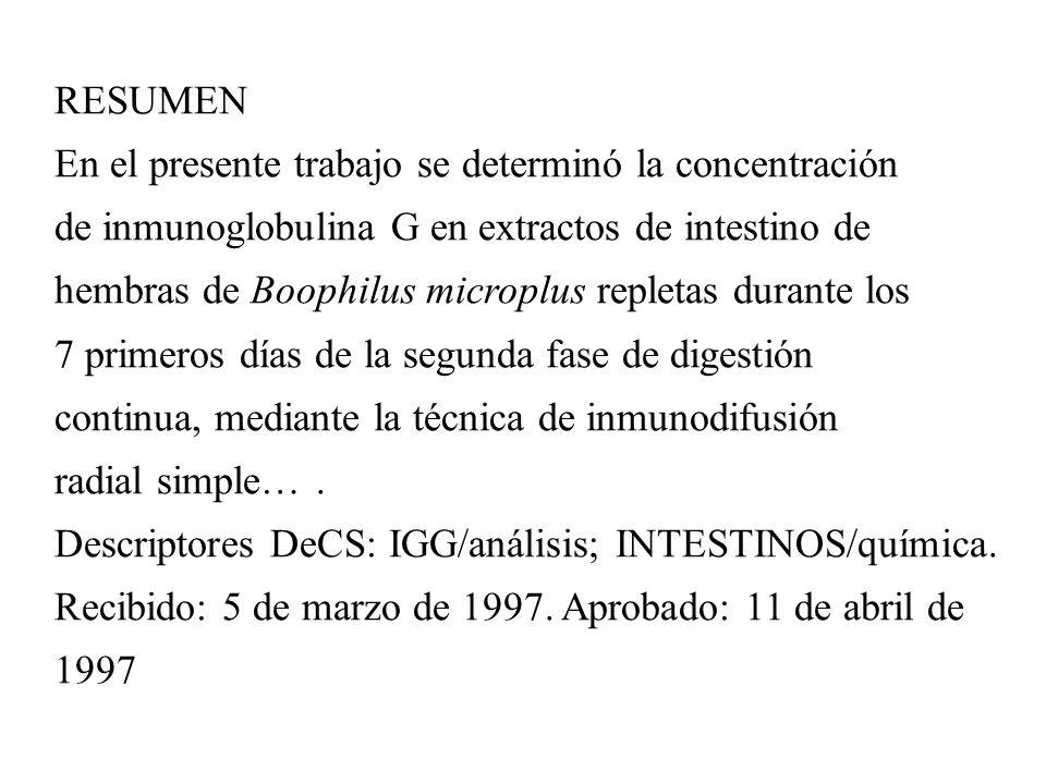 RESUMEN En el presente trabajo se determinó la concentración. de inmunoglobulina G en extractos de intestino de.