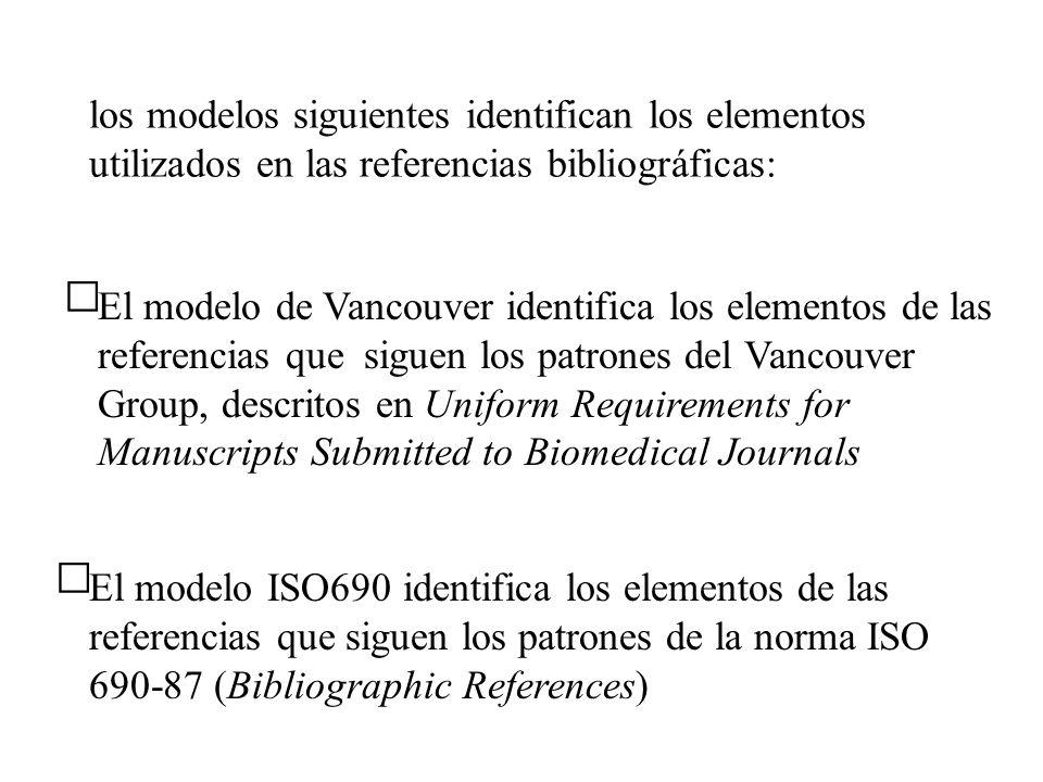 los modelos siguientes identifican los elementos utilizados en las referencias bibliográficas: