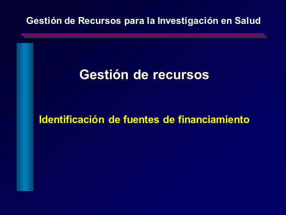 Gestión de recursos Identificación de fuentes de financiamiento