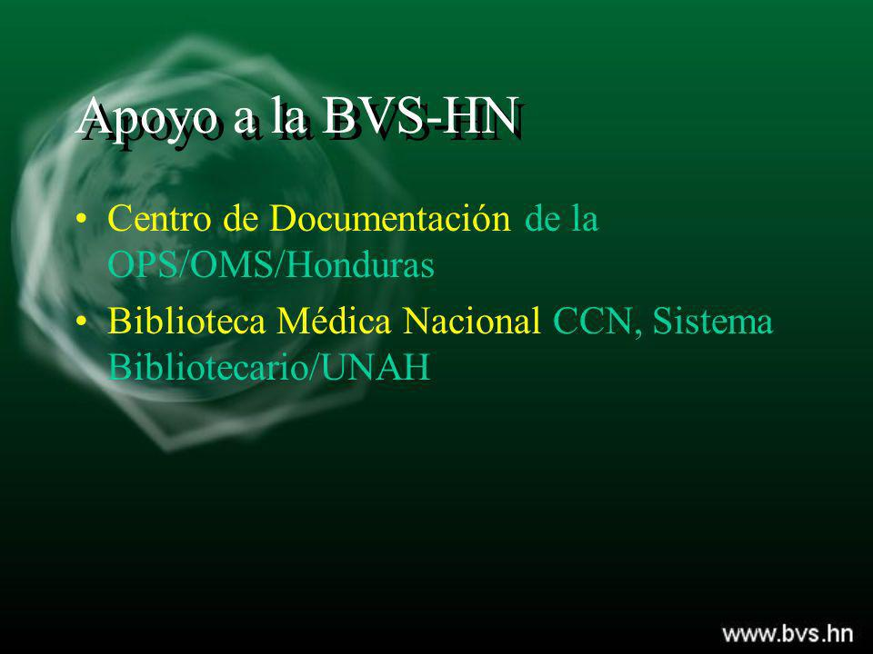 Apoyo a la BVS-HN Centro de Documentación de la OPS/OMS/Honduras
