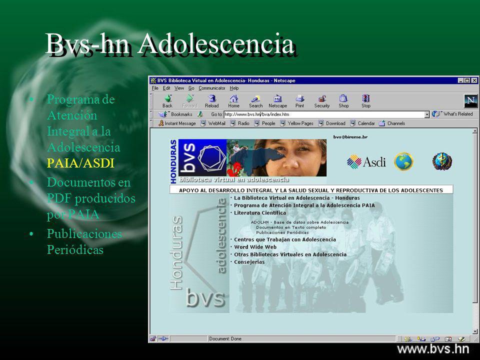 Bvs-hn Adolescencia Programa de Atención Integral a la Adolescencia PAIA/ASDI. Documentos en PDF producidos por PAIA.