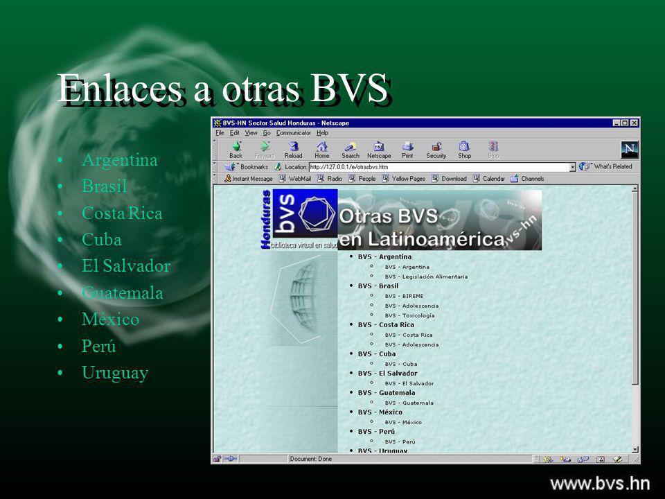 Enlaces a otras BVS Argentina Brasil Costa Rica Cuba El Salvador