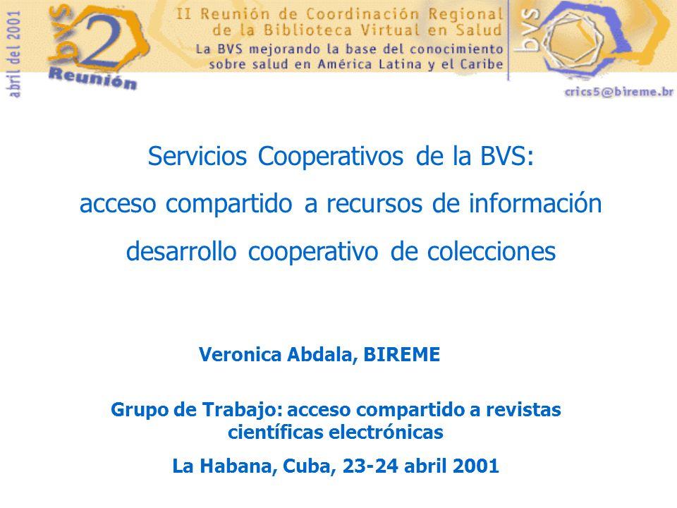 Servicios Cooperativos de la BVS: