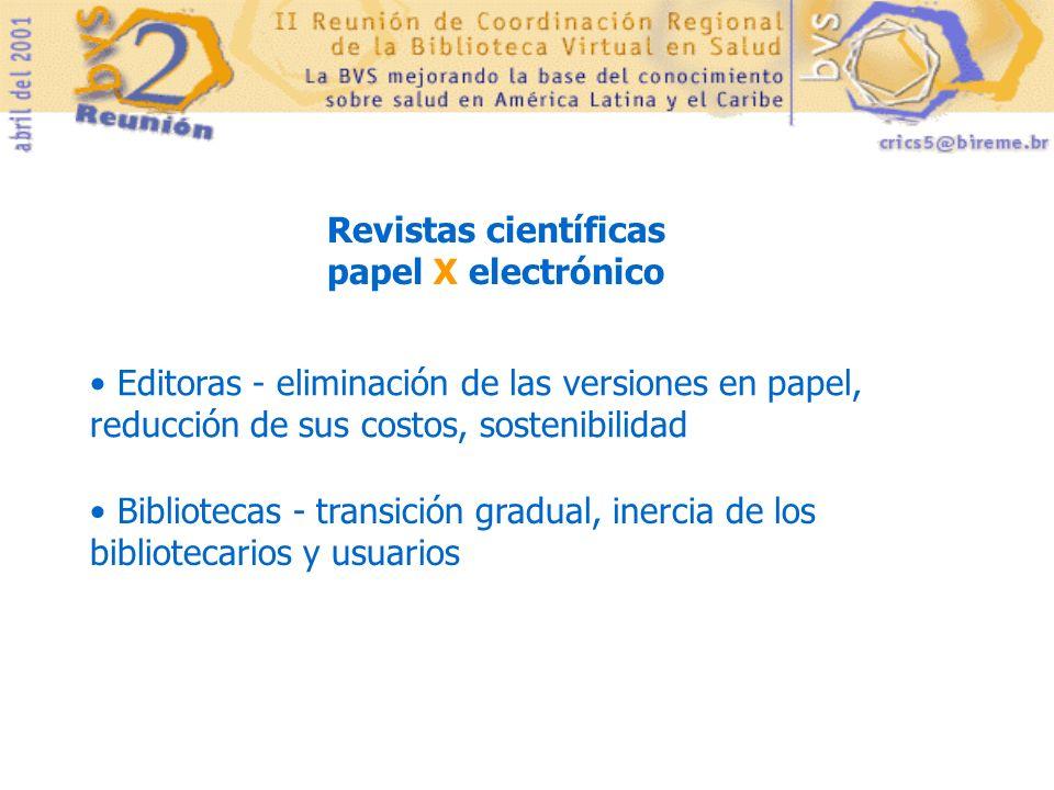 Revistas científicas papel X electrónico