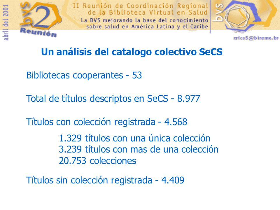 Un análisis del catalogo colectivo SeCS