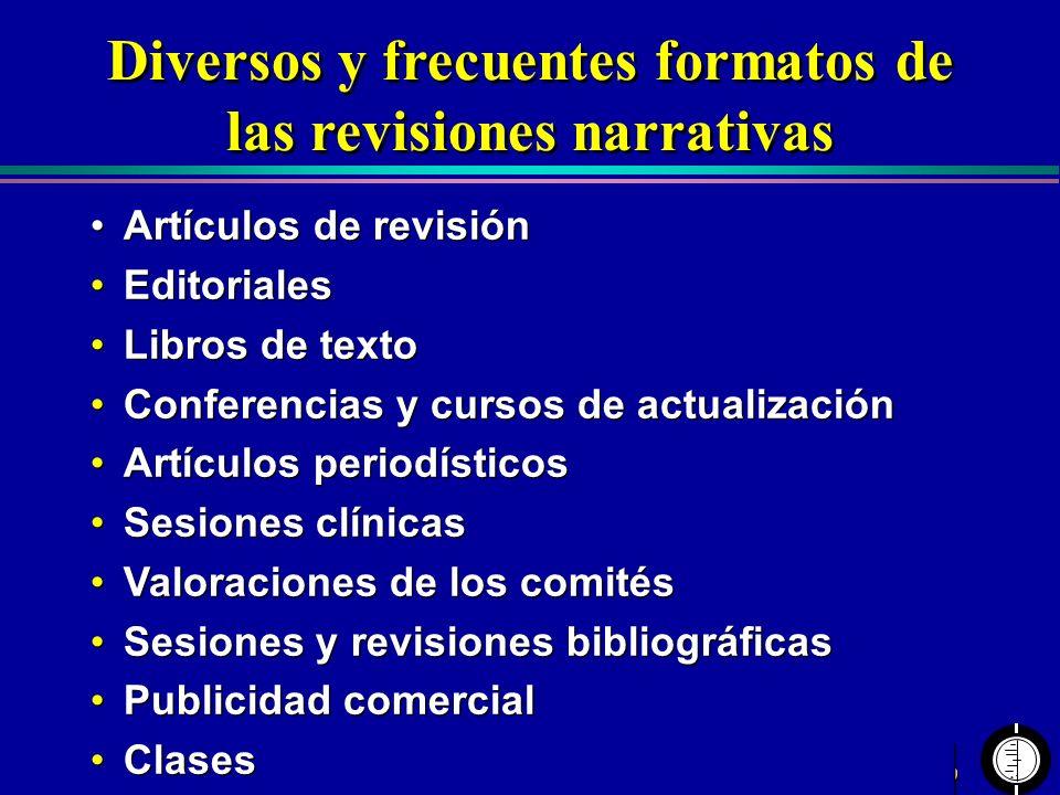 Diversos y frecuentes formatos de las revisiones narrativas