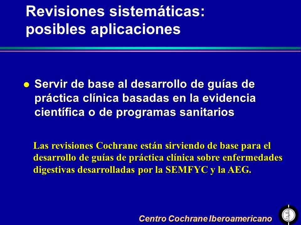 Revisiones sistemáticas: posibles aplicaciones
