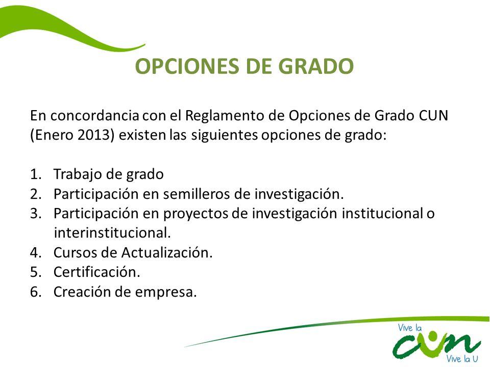 OPCIONES DE GRADO En concordancia con el Reglamento de Opciones de Grado CUN (Enero 2013) existen las siguientes opciones de grado: