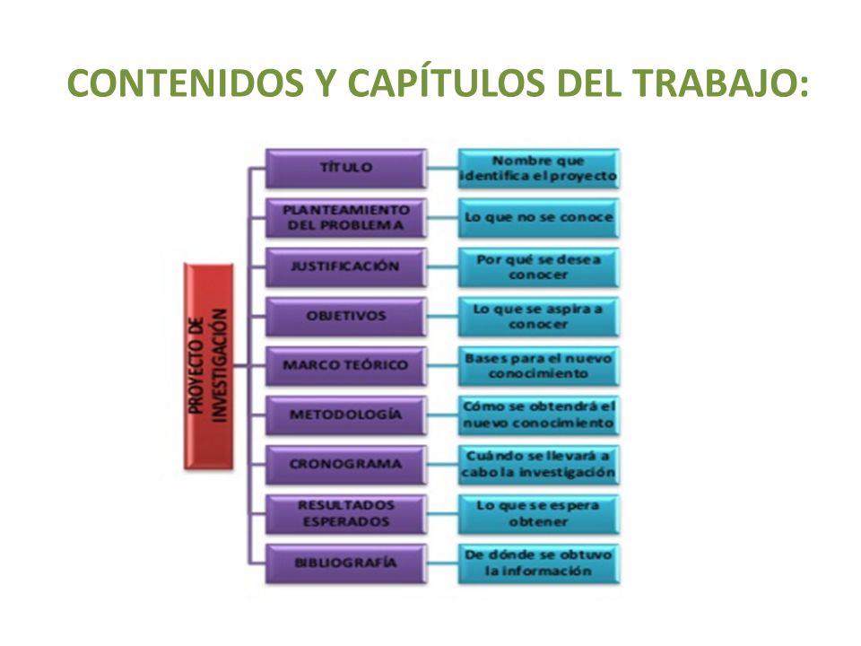 CONTENIDOS Y CAPÍTULOS DEL TRABAJO: