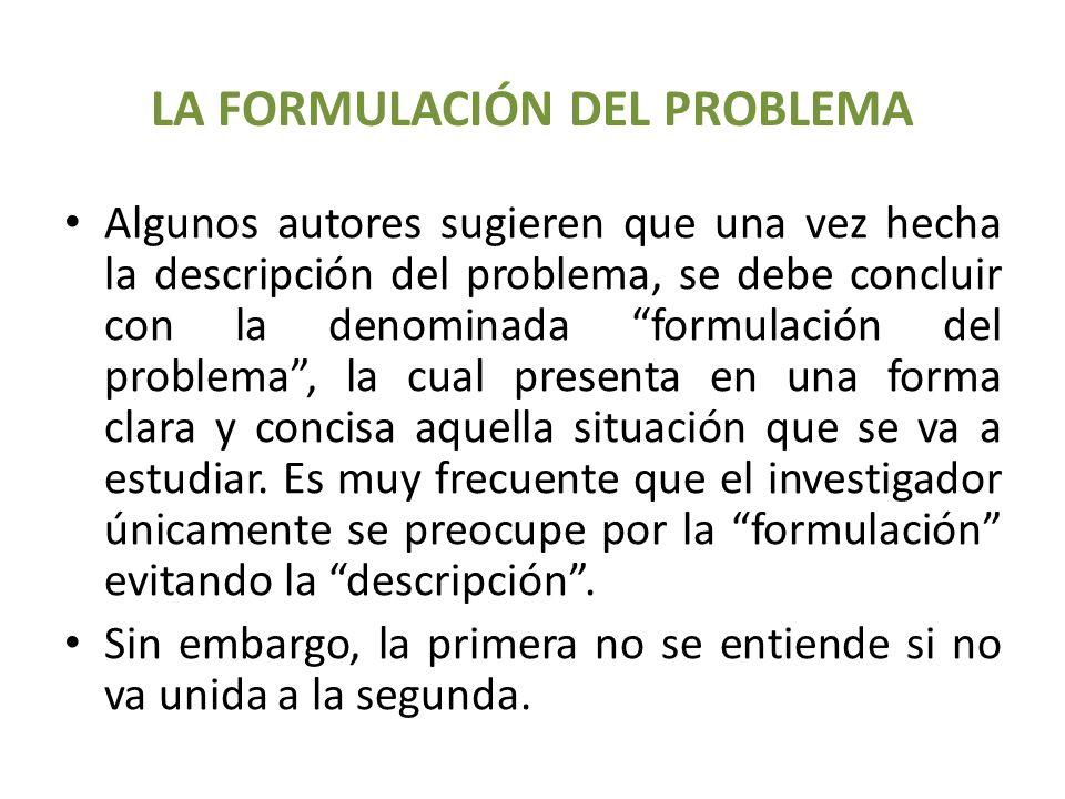 LA FORMULACIÓN DEL PROBLEMA