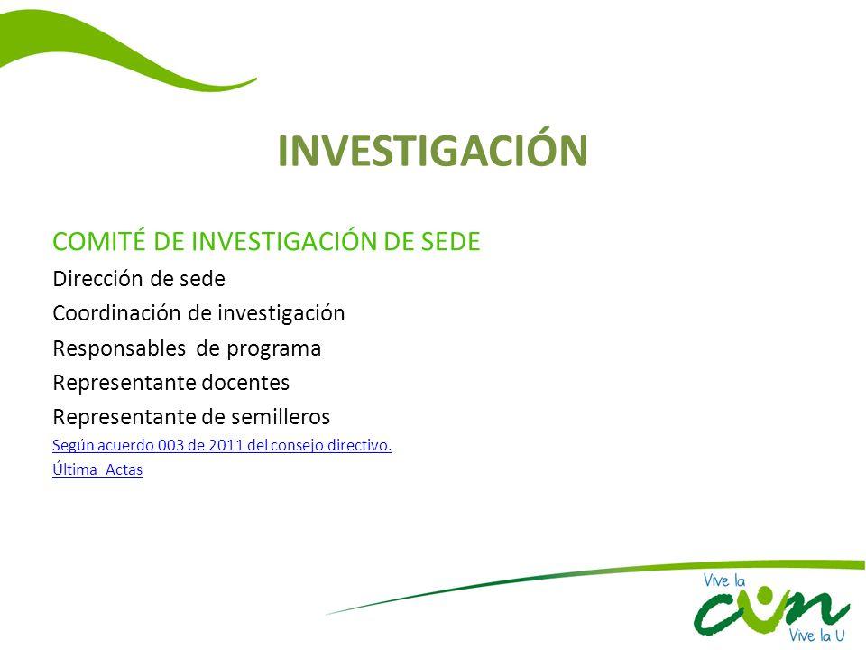 INVESTIGACIÓN COMITÉ DE INVESTIGACIÓN DE SEDE Dirección de sede