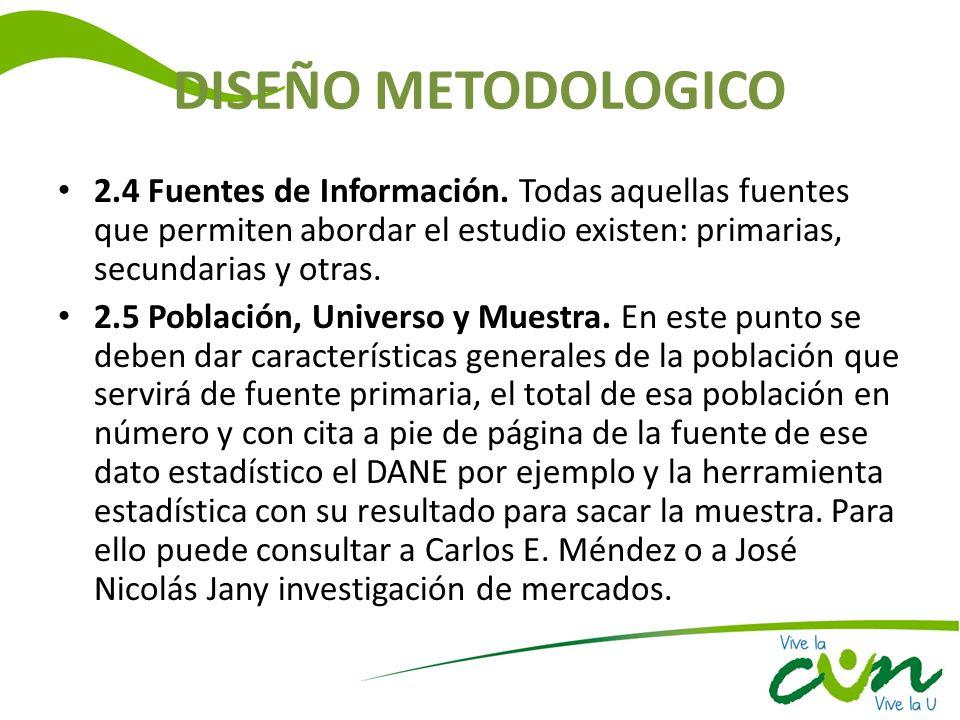 DISEÑO METODOLOGICO 2.4 Fuentes de Información. Todas aquellas fuentes que permiten abordar el estudio existen: primarias, secundarias y otras.