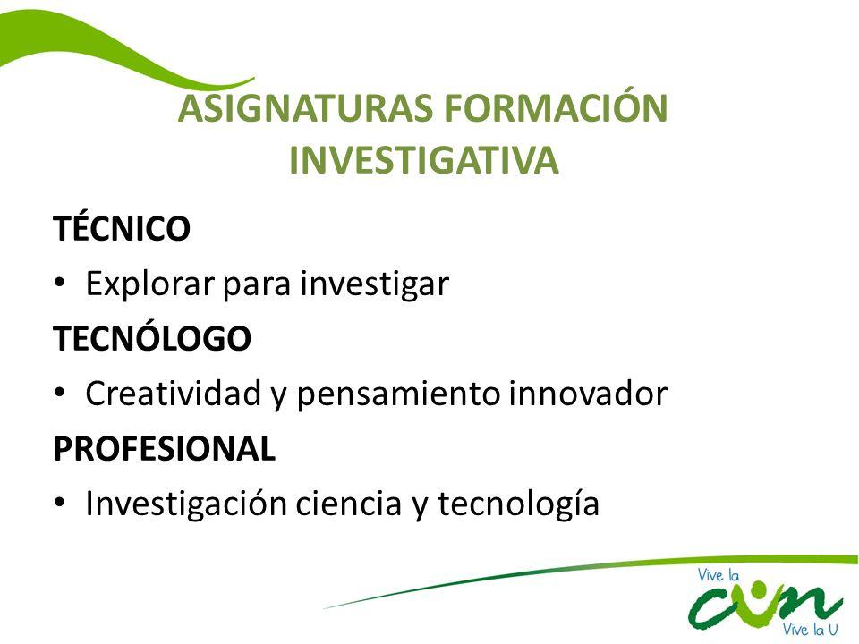 ASIGNATURAS FORMACIÓN INVESTIGATIVA