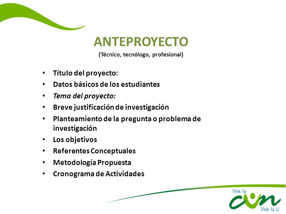 ANTEPROYECTO (Técnico, tecnólogo, profesional)