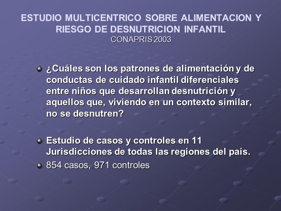 ESTUDIO MULTICENTRICO SOBRE ALIMENTACION Y RIESGO DE DESNUTRICION INFANTIL CONAPRIS 2003