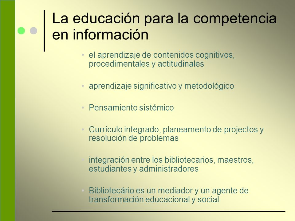 La educación para la competencia en información