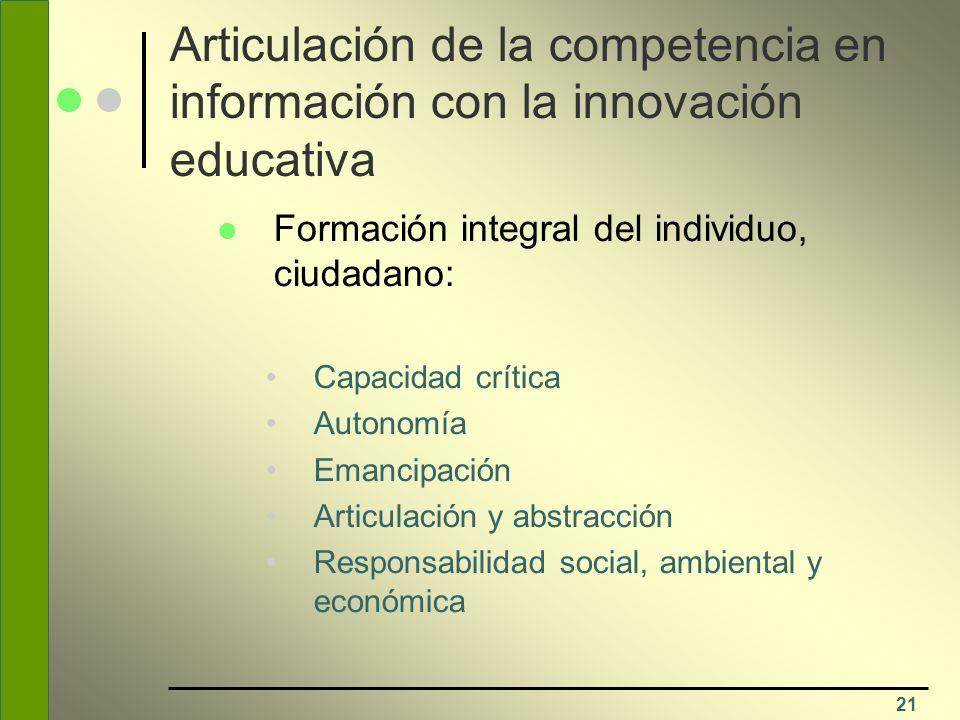 Articulación de la competencia en información con la innovación educativa