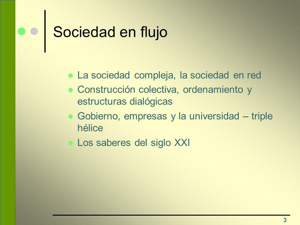 Sociedad en flujo La sociedad compleja, la sociedad en red