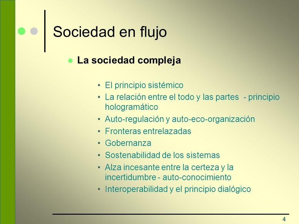 Sociedad en flujo La sociedad compleja El principio sistémico