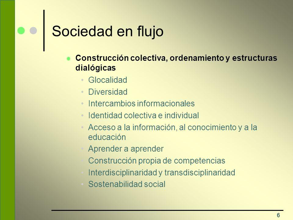Sociedad en flujo Construcción colectiva, ordenamiento y estructuras dialógicas. Glocalidad. Diversidad.