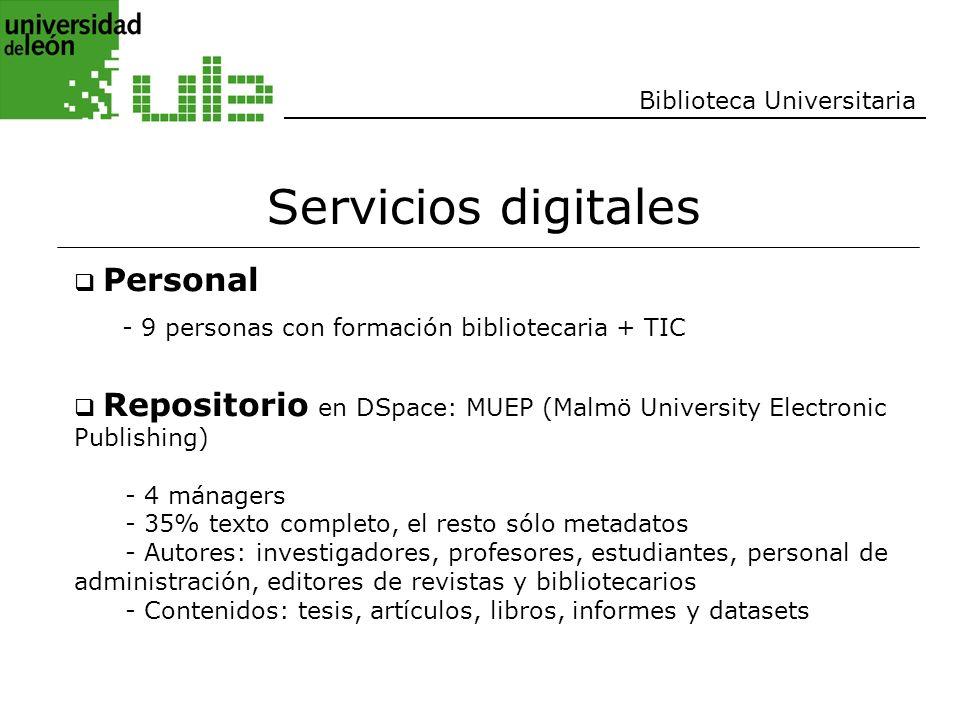 Servicios digitales Biblioteca Universitaria Personal