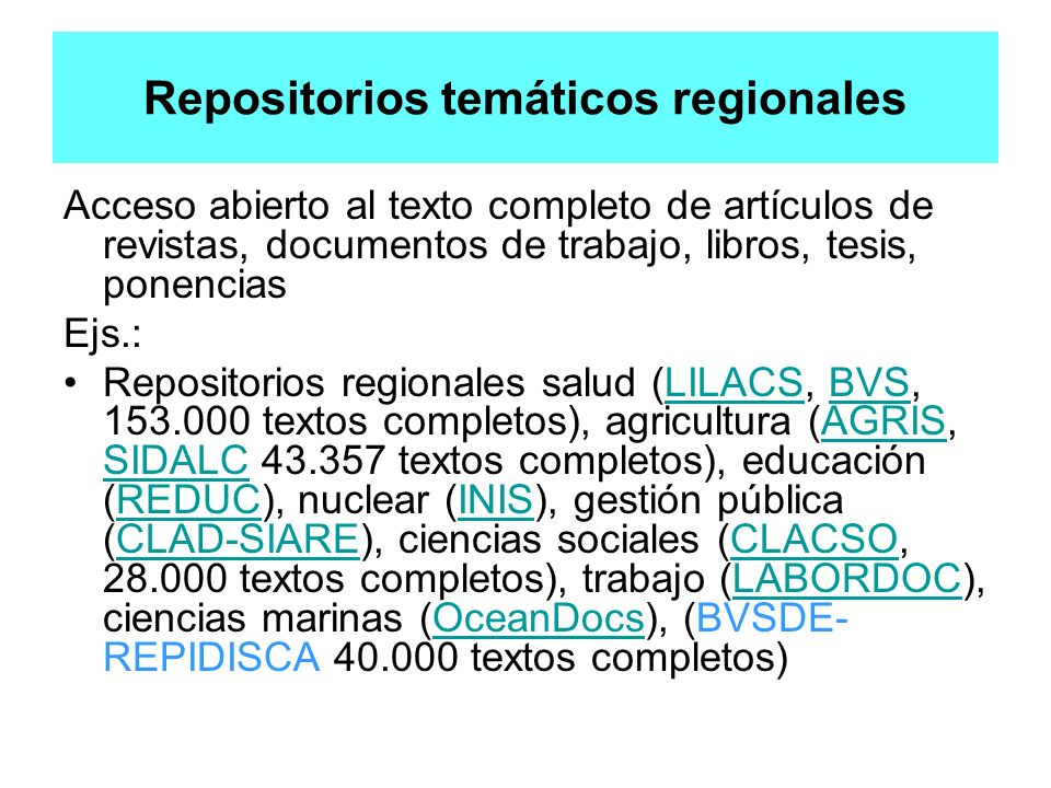 Repositorios temáticos regionales
