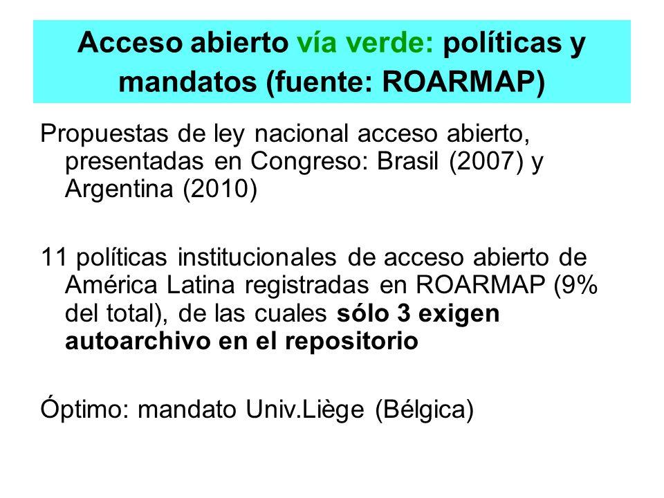 Acceso abierto vía verde: políticas y mandatos (fuente: ROARMAP)
