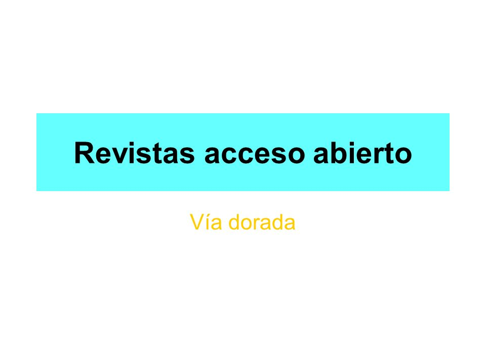 Revistas acceso abierto