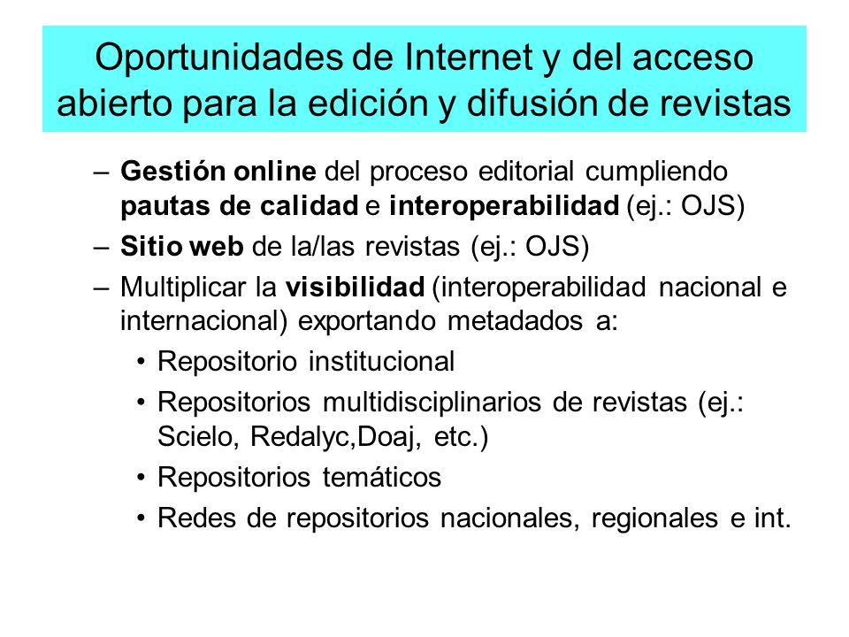 Oportunidades de Internet y del acceso abierto para la edición y difusión de revistas