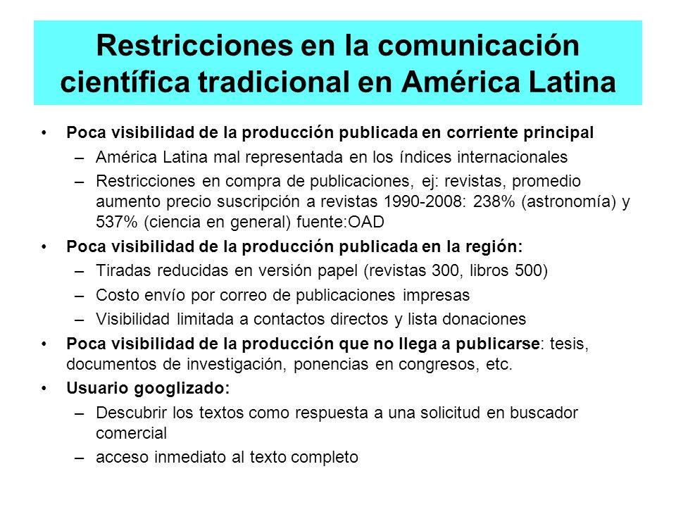 Restricciones en la comunicación científica tradicional en América Latina