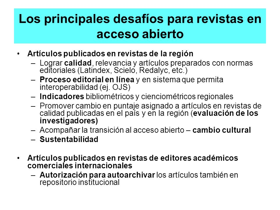 Los principales desafíos para revistas en acceso abierto