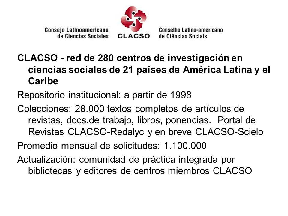 CLACSO - red de 280 centros de investigación en ciencias sociales de 21 países de América Latina y el Caribe Repositorio institucional: a partir de 1998 Colecciones: 28.000 textos completos de artículos de revistas, docs.de trabajo, libros, ponencias.
