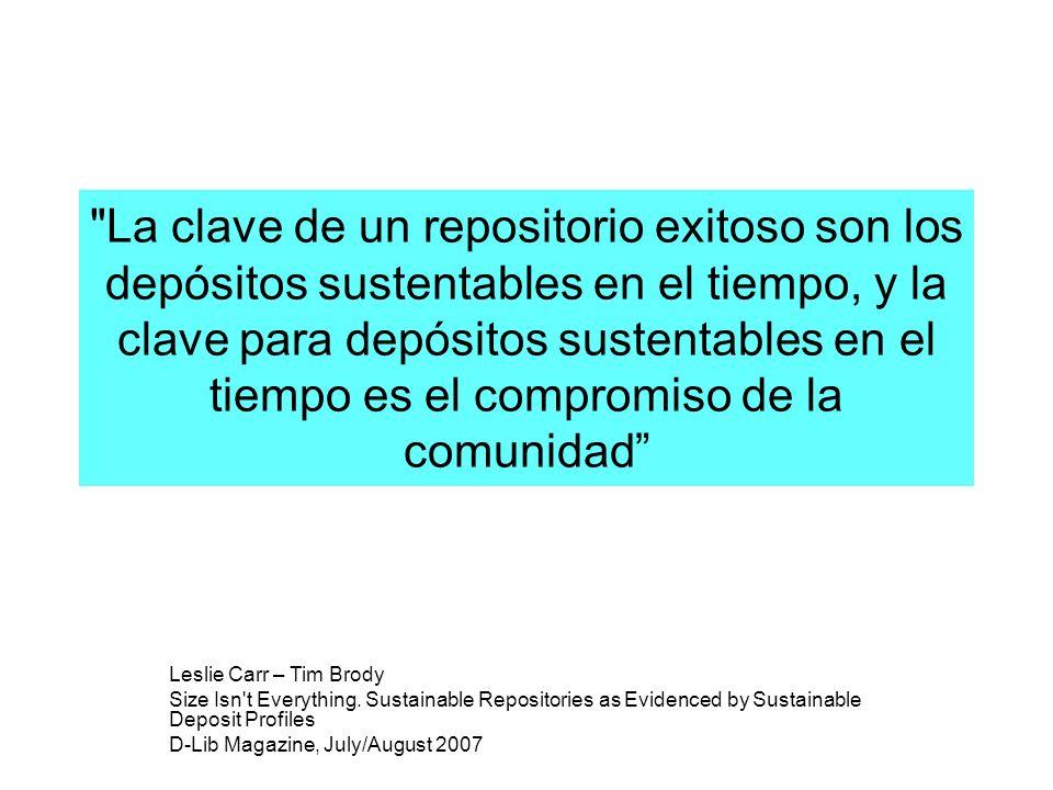La clave de un repositorio exitoso son los depósitos sustentables en el tiempo, y la clave para depósitos sustentables en el tiempo es el compromiso de la comunidad