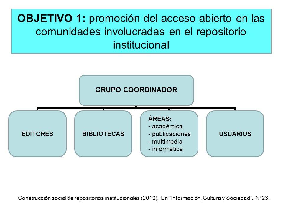 OBJETIVO 1: promoción del acceso abierto en las comunidades involucradas en el repositorio institucional