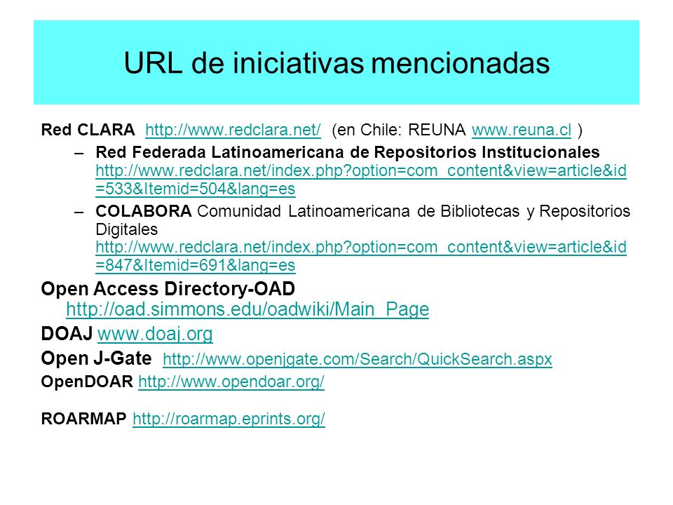 URL de iniciativas mencionadas