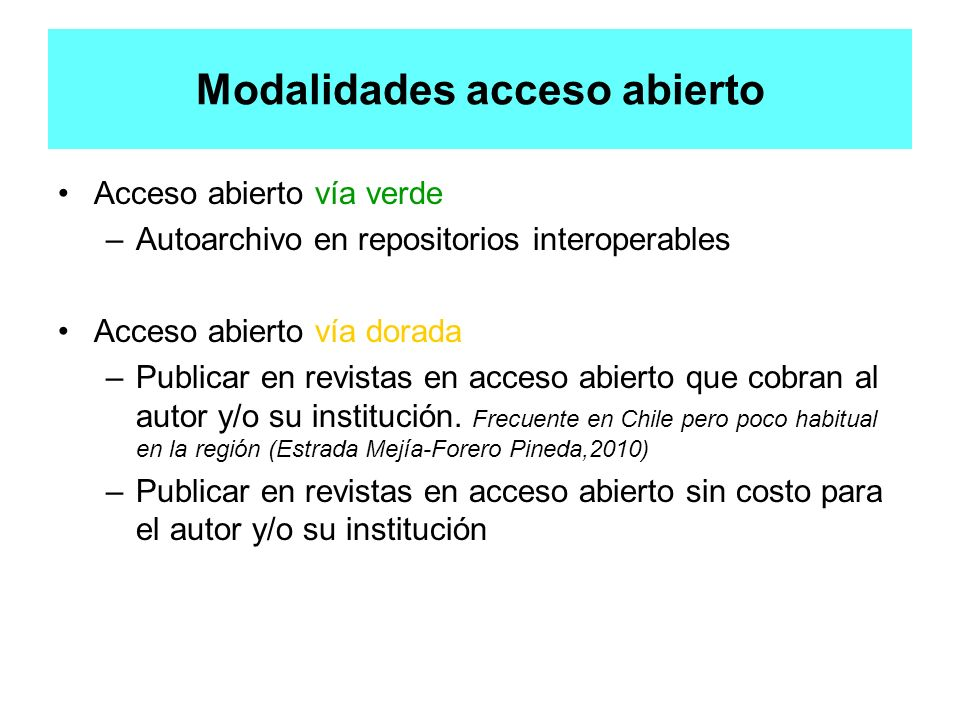 Modalidades acceso abierto
