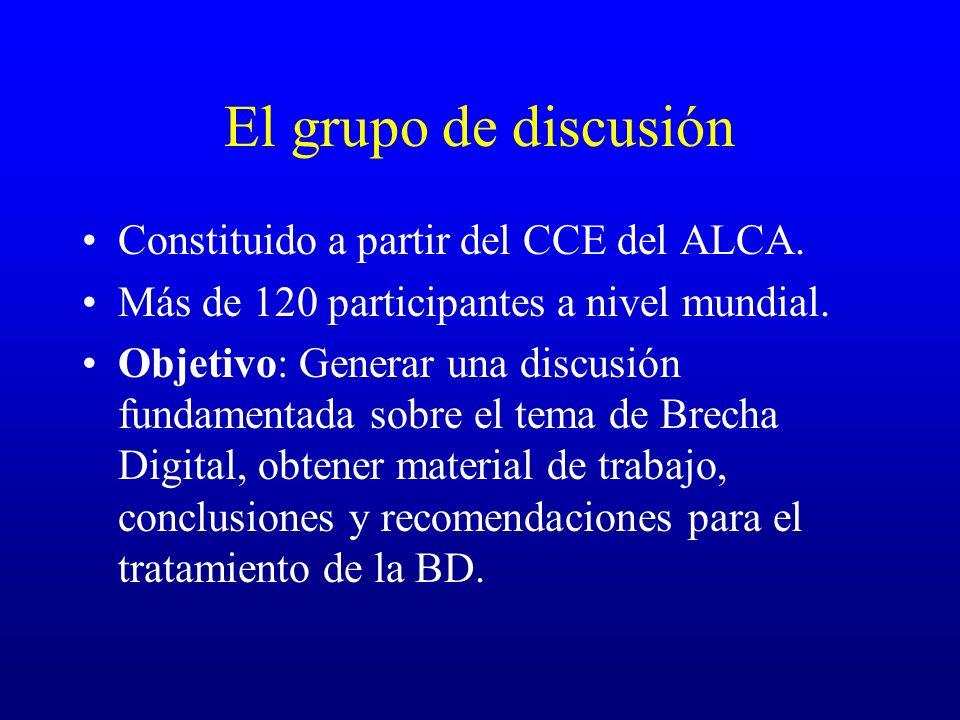 El grupo de discusión Constituido a partir del CCE del ALCA.