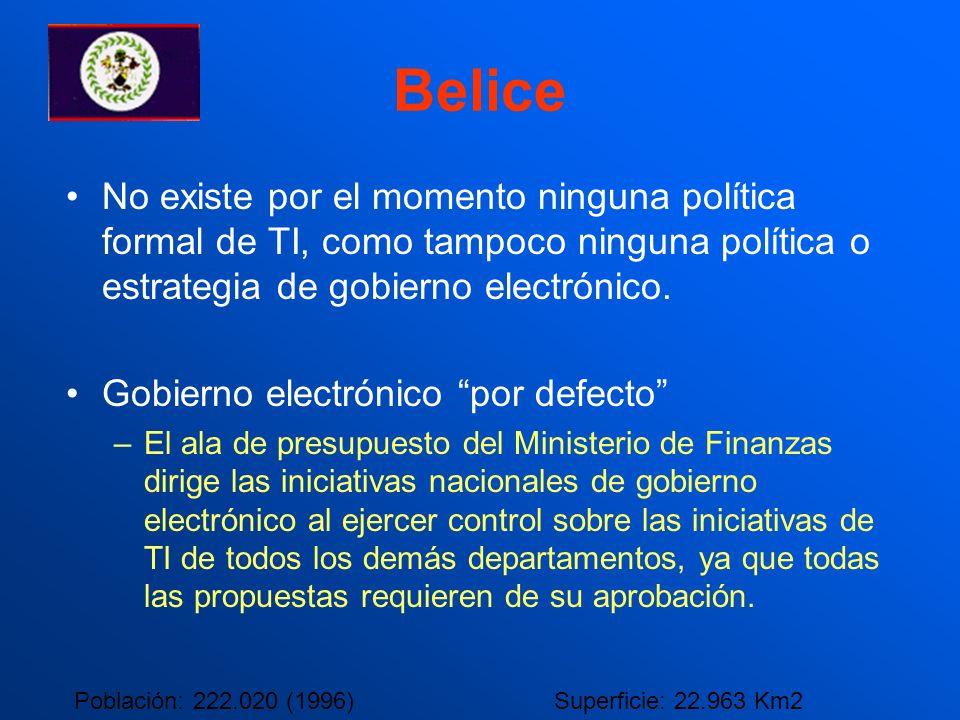 Belice No existe por el momento ninguna política formal de TI, como tampoco ninguna política o estrategia de gobierno electrónico.