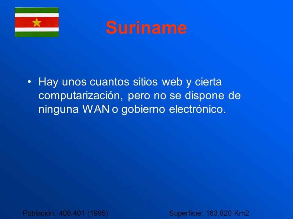 Suriname Hay unos cuantos sitios web y cierta computarización, pero no se dispone de ninguna WAN o gobierno electrónico.