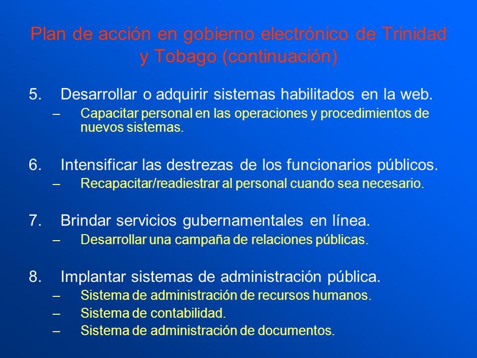 Plan de acción en gobierno electrónico de Trinidad y Tobago (continuación)