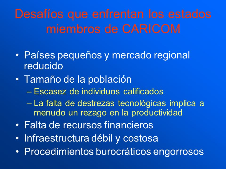 Desafíos que enfrentan los estados miembros de CARICOM