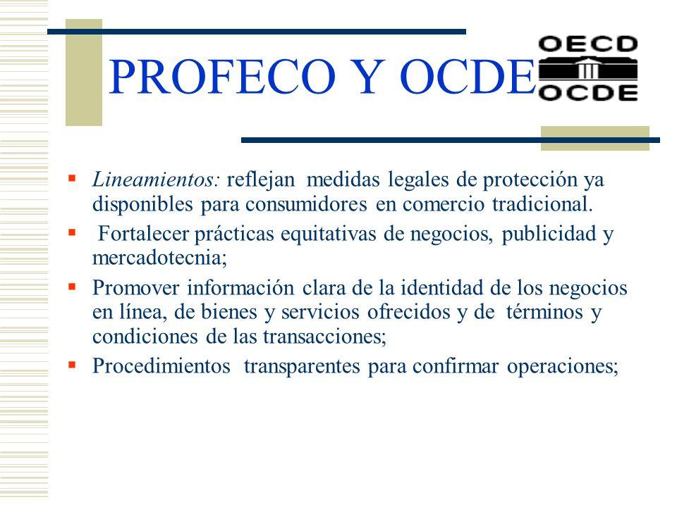 PROFECO Y OCDELineamientos: reflejan medidas legales de protección ya disponibles para consumidores en comercio tradicional.