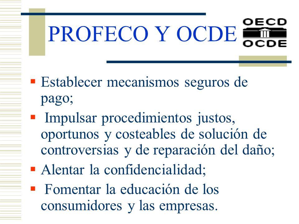PROFECO Y OCDE Establecer mecanismos seguros de pago;