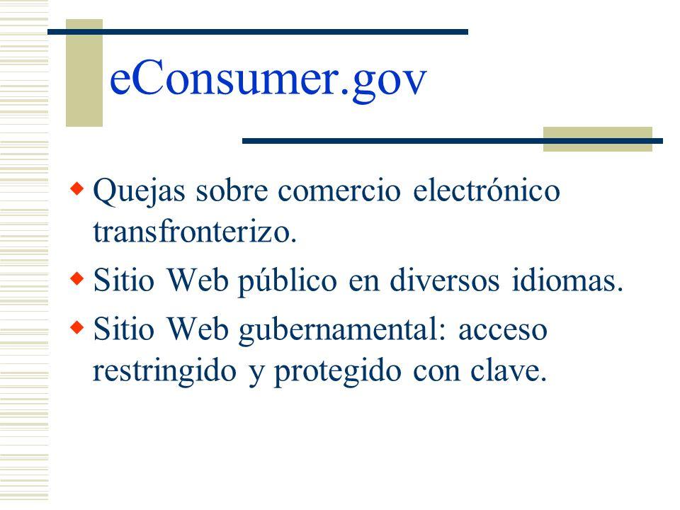 eConsumer.gov Quejas sobre comercio electrónico transfronterizo.