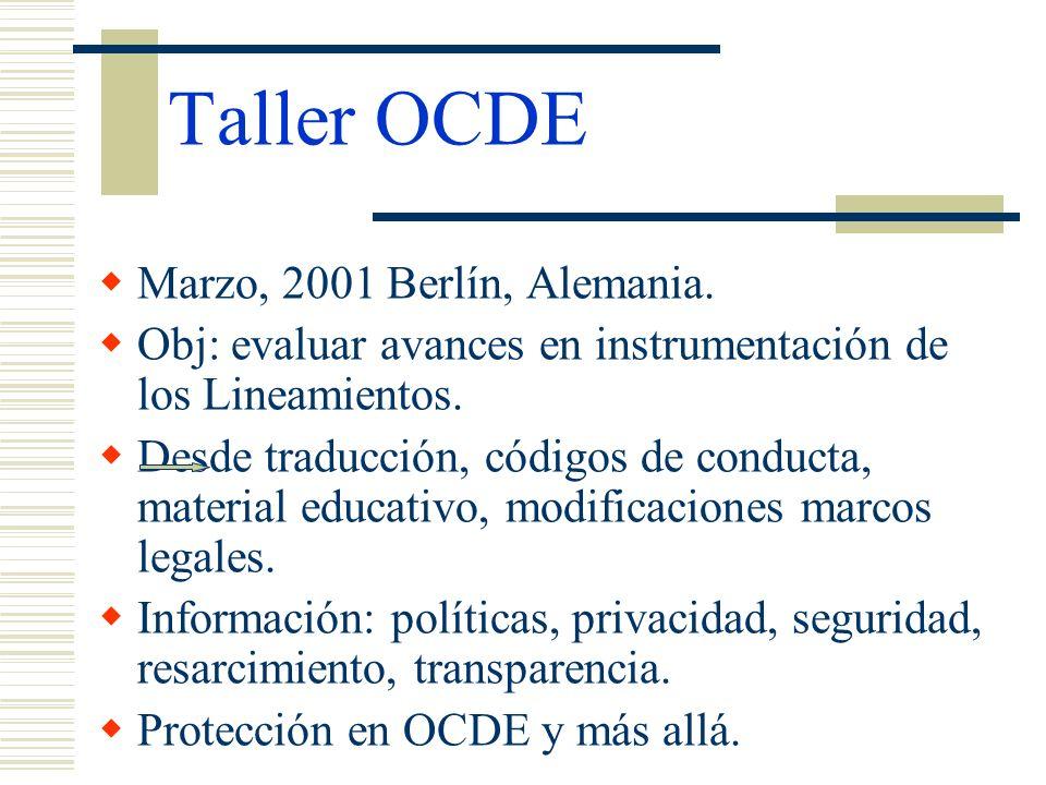 Taller OCDE Marzo, 2001 Berlín, Alemania.