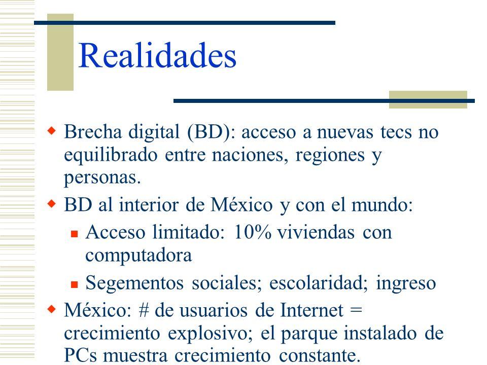 Realidades Brecha digital (BD): acceso a nuevas tecs no equilibrado entre naciones, regiones y personas.